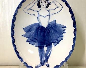 Tutu Ballet Dancer Plate, Hand-painted ceramic bowl, Ceramic bowl w/ dancer print, Ballet dancer, Tutu skirt dancer, Decorative plate