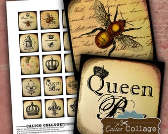 Queen Bee Digital Collage Sheet 1.5x1.5 Square Images for Pendents, Magnets, Scrapbooking and Mixed Media Art Paper Goods CalicoCollage