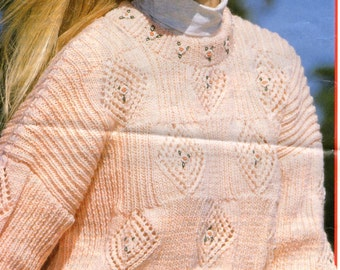 Vintage Knitted Women's Diamond Jumper Pattern.