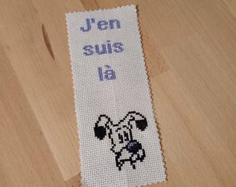 "Bookmark embroidered - snowy - Collection ""cat and dog)"