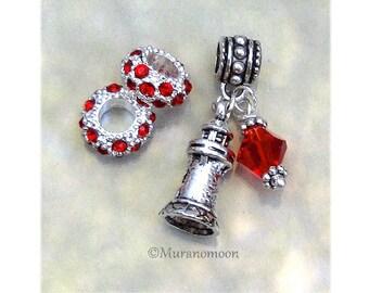 Lighthouse Charm Fit European Bracelet Red Swarovski Crystal Lighthouse Dangle Charm Birthstone Crystal Fits Charm Bracelet #DC1031