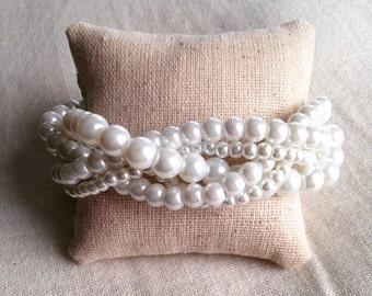Braided cuff, white pearl bracelet, bridesmaids bracelet, white bracelet, pearl bracelet, statement bracelet, elegant bracelet, white pearl