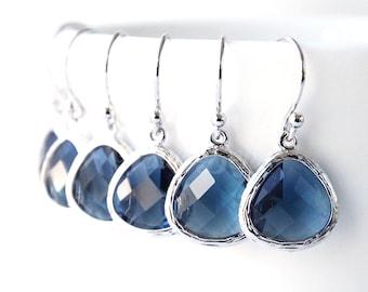 5% OFF, Bridesmaid gifts, Set of 4,5,6, Navy blue earrings, Bridesmaid earrings, Dangle earrings, Wedding gift earrings, Bridal earrings