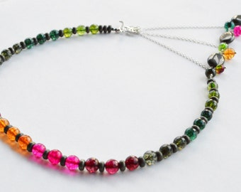 Autumn Colors Adrienne Adelle Signature Necklace - Rainbow Tourmaline, Pyrite & Sterling Silver Asymmetrical Gemstone Statement Necklace