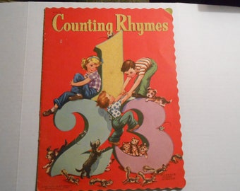 vintage Whitman linen children's book Counting Rhymes Florence Sarah Winship