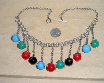 Vintage Glass Gumball Book Chain Dangle Necklace. Yummy 1940's Jewelry 11040