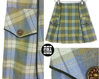 Super Cute Vintage 60s 70s Green & Blue Plaid Mini A-Line Skirt!
