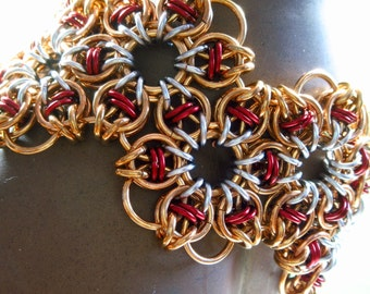 Jewelers Brass & Enameled Copper Starry Night Weave Chainmaille Bracelet
