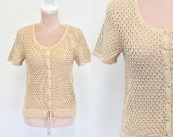 70s Dust Pink Knitwear / 1970s Knitted Short Sleeve Sweater / Vintage Knitwear / Small