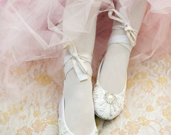 Girl's Shoes - Ballet Flats, Vintage Lace,Wedding Flower Girl Shoes,  With Swarovski Crystals,  The Beth Flower Girl Shoes