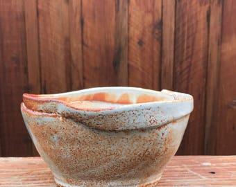 wavy lipped bowl - shino glaze - wheel thrown - ceramic