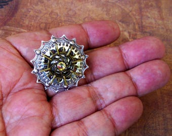 Steampunk Tie Tack (TT702) Silver and Brass Stamping, Gears, Swarovski Crystal, Tie Tack