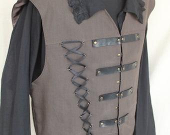 Medieval noble Vest,Rustic Pirate Vest, Men's Renaissance Vest, Victorian Vest Medieval clothing Rustic clothing Pirate clothes