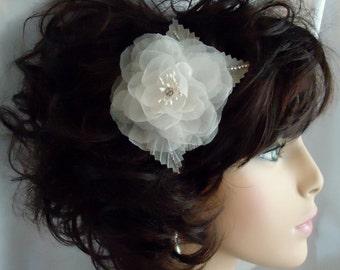 Silk Bridal Fascinator, Silk Organza Rose, Pure Silk Hairpiece, Wedding Headpiece, Bridal Hair Accessory, REX16-392