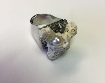 Adjustable Silver Ring with Coral, Pearl and Pyrite by oldmanwithers