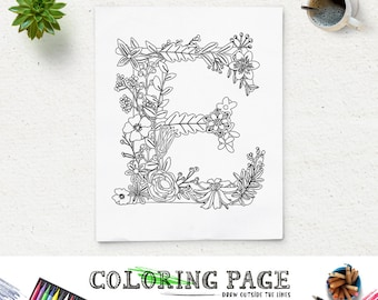 Floral Alphabet Printable Coloring Page Letter E Instant Download Digital Art Zen Pages Adult Anti Stress Therapy