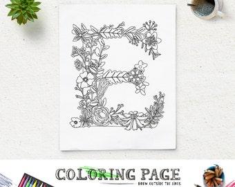 Floral Alphabet Printable Coloring Page Letter B Instant