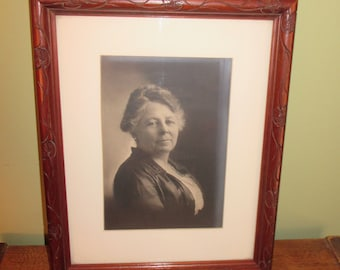 Vintage portrait photograph of a pleasant woman - matted and framed