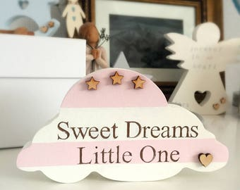 Baby Loss Gift Freestanding Hand Painted Engraved Cloud