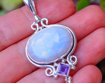 Rainbow Moonstone, Amethyst set in Solid 925 Sterling Silver Pendant