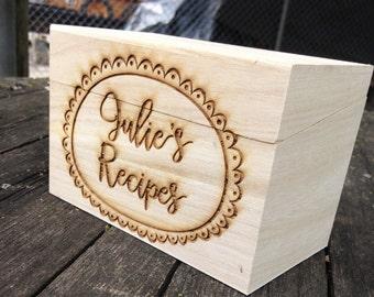 Engraved Recipe Box, Wood Recipe Box, Wood Recipe Box,Shower Gift, Birthday Gift,Christmas Gift, Housewarming Gift, Anniversary Gift