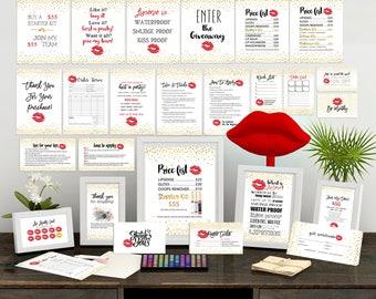 Lipsense Marketing Kit, Lipsense Marketing Bundle Pack, LipSense Business Cards, Lipsense Bundle Pack, Gold Confetti, Red Lips, ultimate