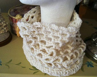 Neck warmer cowl neck crocheted ecru cotton pattern
