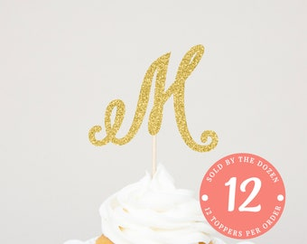 Letter Cupcake Toppers | Gold Letter Toppers | Gold Initial Topper | Gold Letter Cupcake Toppers | Personalized Initial Letter |Gold Initial