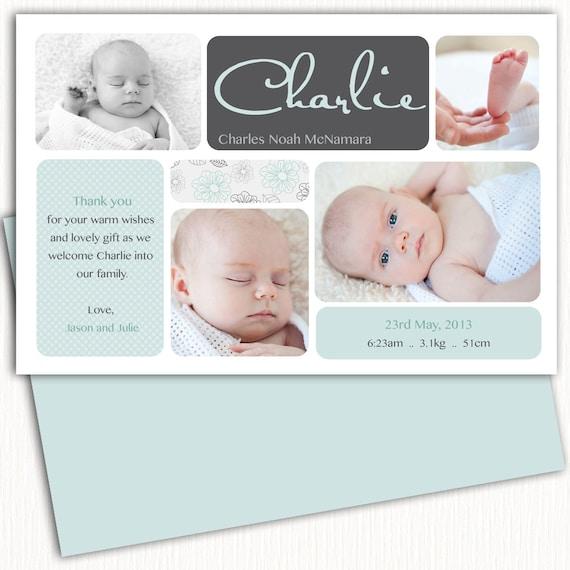 Photo Birth Announcement/Boy Baby Announcement/Birth