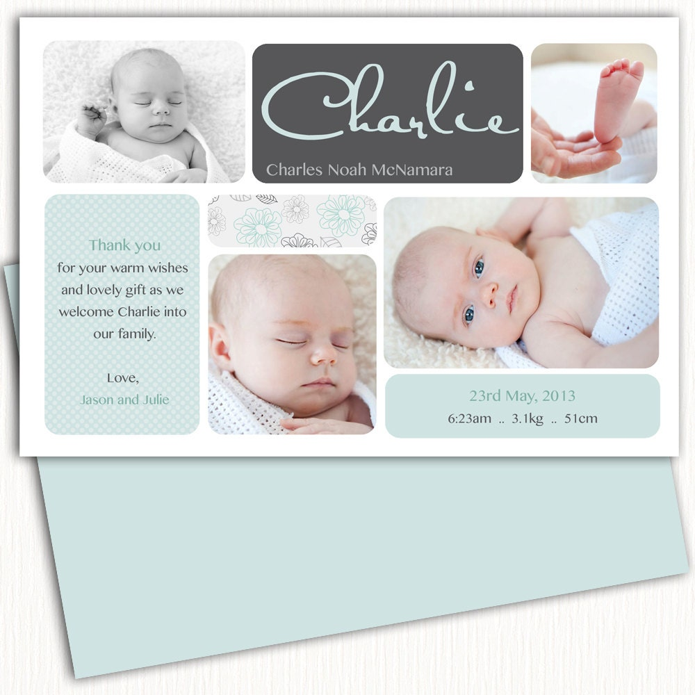 Photo Birth AnnouncementBoy Baby AnnouncementBirth - Card template free: birth announcement thank you cards