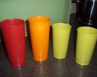 "Tupperware Tumblers 5"" Pastel Set of 4 Glasses - 2 marked G, 2 marked J"
