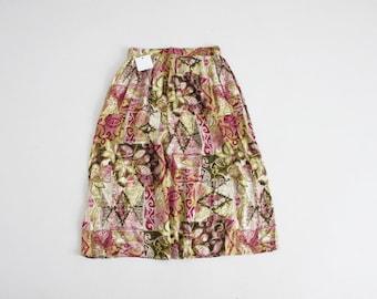 botanical skirt   90s floral skirt   floral midi skirt