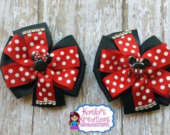 Minnie Mouse Hair Bows, Mickey Mouse Hair Bows, Black and Red Minnie and Mickey Hair Bows,Red and Black Minnie and Mickey Hair Bows.