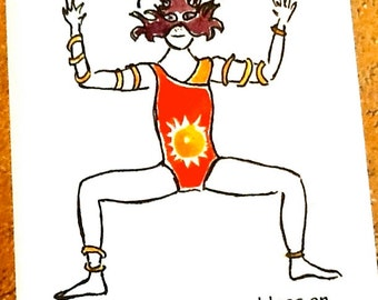 Goddess pose: yoga greeting card, any occasion