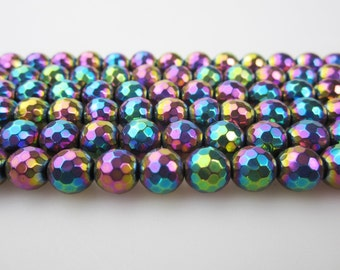 Colorful Hematite Faceted Round Beads 6/8mm  15.5'' Long Per Strand.R-F-HEM-0117