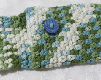 Crocheted Cell Phone Cover, Green, Blue and Ecru Ombre. Cotton, Handmade Device Cover