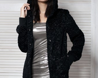 Bomber astrakhan obsidian. Exclusive faux fur by Tissavel (France)