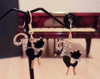 Earrings black cat and rhinestones - Gold - 5cm