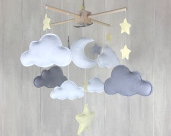Baby mobile - cloud mobile - star mobile - sky mobile - clouds and stars - gender neutral mobile - grey and white - nursery decor