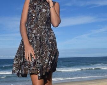 Vintage style- Sleeveless dress-- Full Circle Skirt- Aboriginal Artwork Print- Dancing Spirit Brown- side pockets- 100% Cotton
