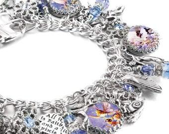 Fairy Charm Bracelet, Silver Charm Bracelet, Fairies Jewelry, Fairy Jewelry, Fairy Charm Bracelet