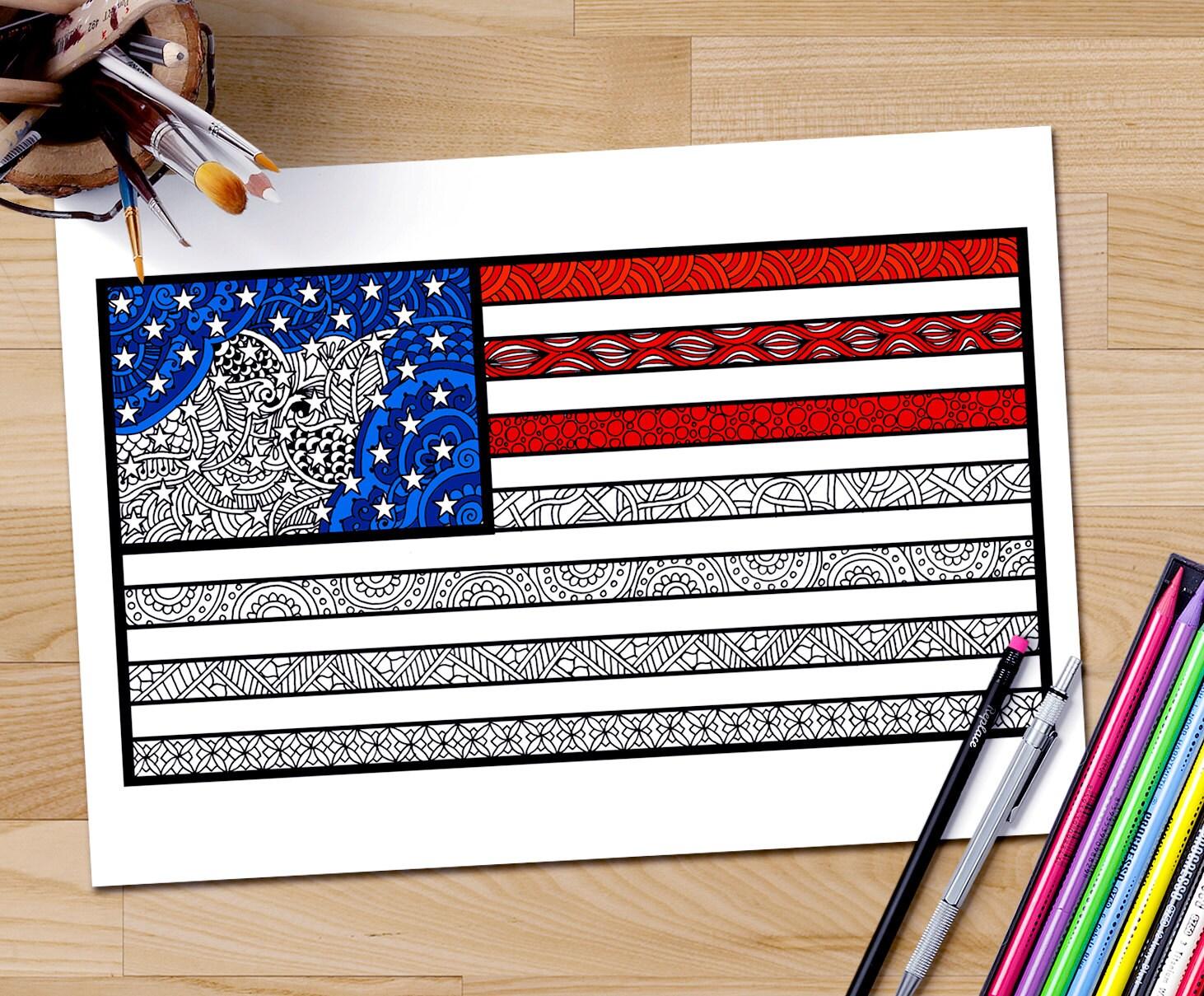 amerikaanse vlag kleuren pagina volwassen kleurplaat