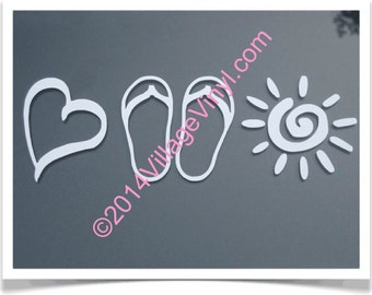 Live Love Laugh -  LARGE 12  INCH DECAL - Heart Flip Flop Sun Vinyl Decal  - Car Window Decal - Window Sticker