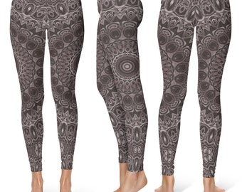 Brown Leggings Yoga Pants, Mandala Printed Yoga Tights for Women, Festival Clothing