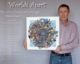 Worlds Apart - LEICESTER (see my other listing for 'Premier Champions'). Original modern art wall print by Mike Pratt.