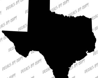 Texas State US Solid Outline Car Decal Houston San Antonio Dallas Austin Fort Worth El Paso