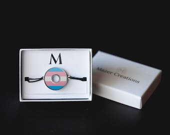 Transgender Trans Pride Washer Bracelet | Resin Coated