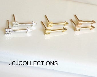 Tiny Simple Arrow Earrings, Boho Earrings, Minimal Earrings