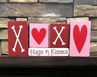 Valentine's  wood blocks-- XOXO Hugs 'n Kisses