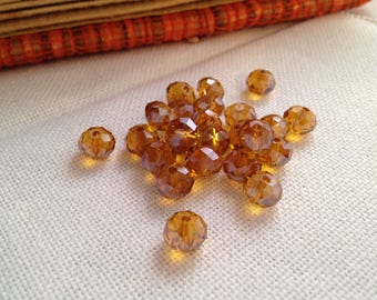 10 yellow amber beads, 6x8mm faceted Crystal